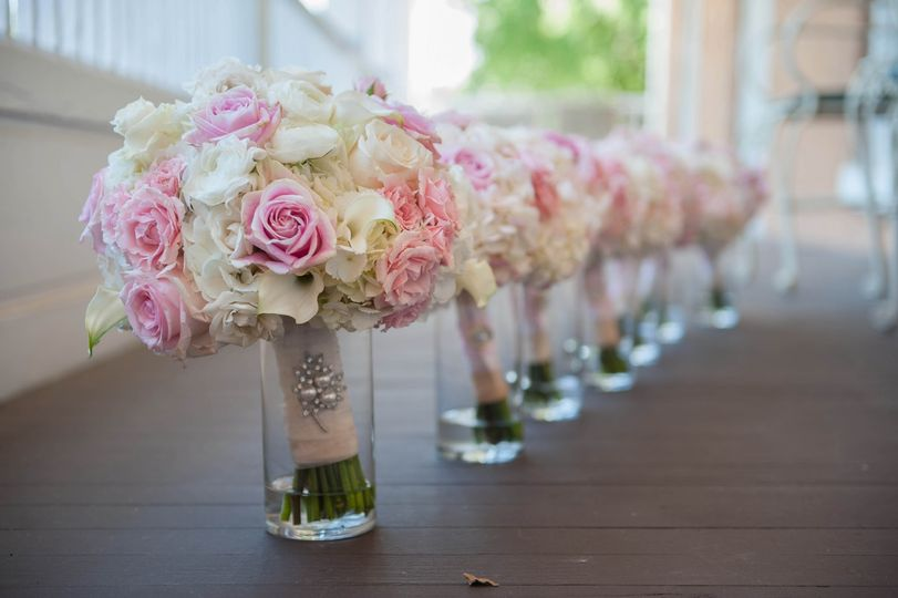 Wedding bouquet on the glass