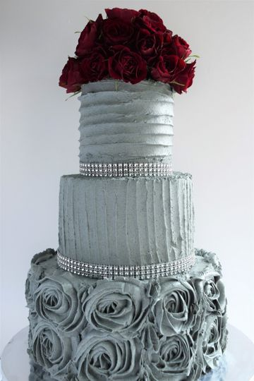 Three tiered elegant textured wedding cake