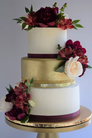 Burgandy and gold tiered anniversary cake