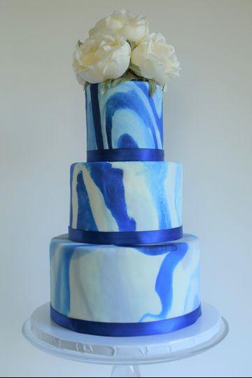 Blue Marbled Wedding Cake