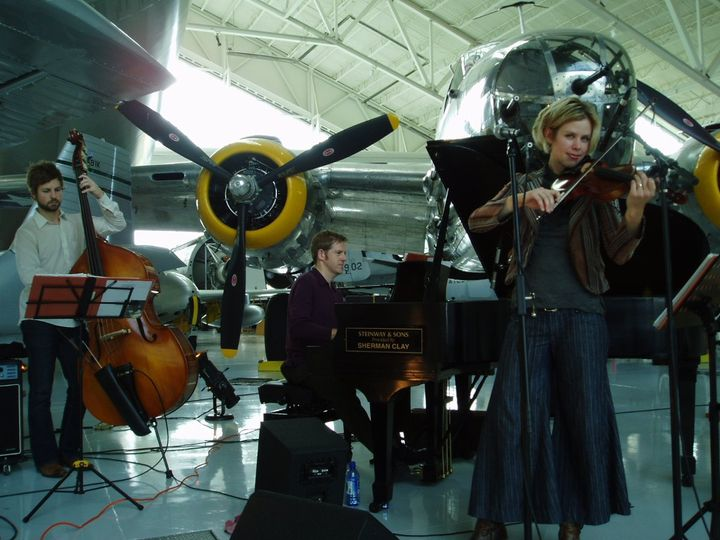 So fun to play surrounded by vintage airplanes!