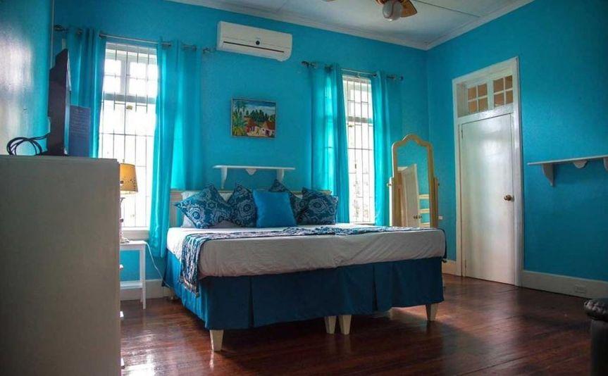 A blue-themed suite