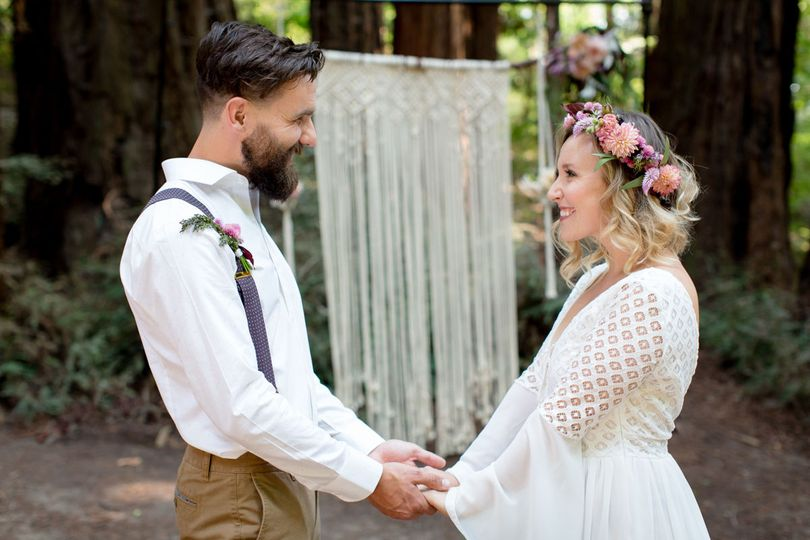 Boho wedding at roaring camp in the redwoods
