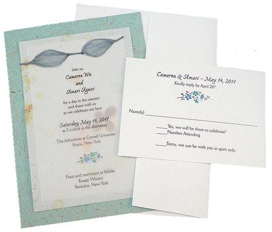 100% recycled handmade double panel wedding invitation and RSVP card with eco-twist bow on...