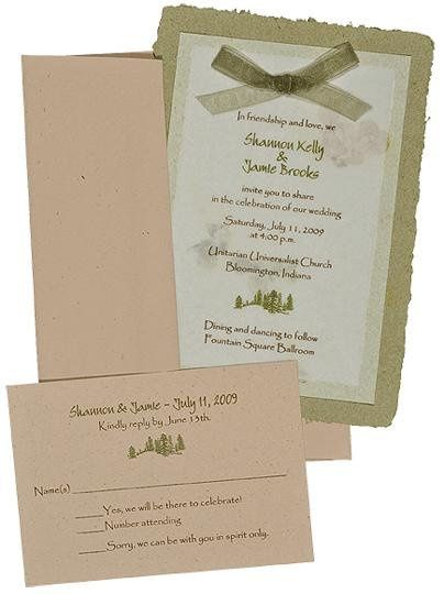 100% recycled handmade double panel wedding invitation with fossil and olive paper and olive ribbon....