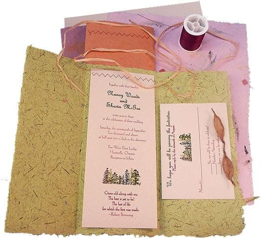 100% recycled handmade fold-up wedding invitation do-it-yourself kit includes handmade paper, poly...