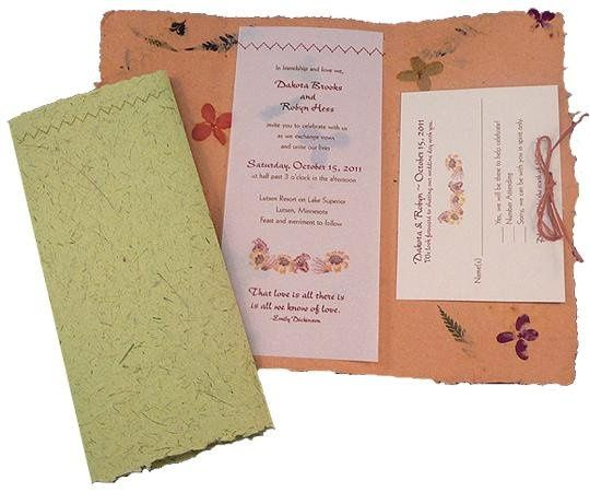 100% recycled handmade fold-up wedding invitations in orange and sandstone with recycled vellum...
