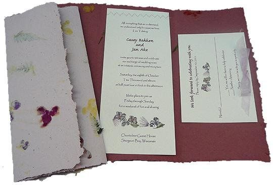 100% recycled handmade fold-up invitations in lavender and burgundy with cardstock inlay and...