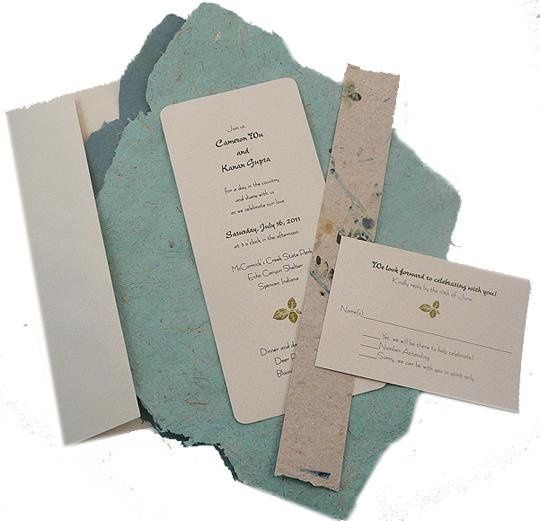 100% recycled handmade you-assemble wrap wedding invitations. You-assemble includes: invitation...