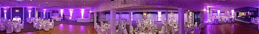 The effects of uplighting can be simply stunning! A recent wedding had a lavender color scheme....