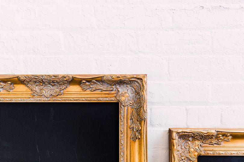 gold frame chalkboard details