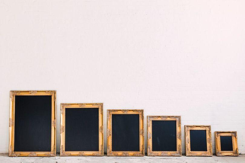 gold frame chalkboards
