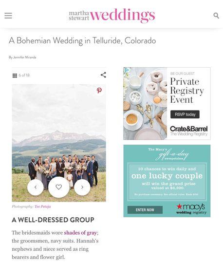 Featured in Martha Stewart weddings magazine
