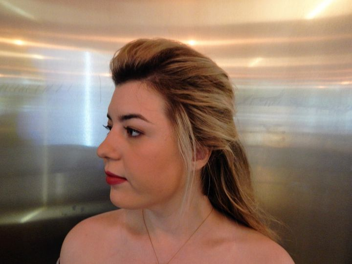 Airbrush makeup with half up style with volume