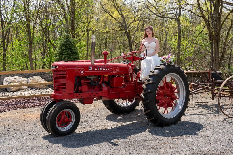 Bride on our antique tractor