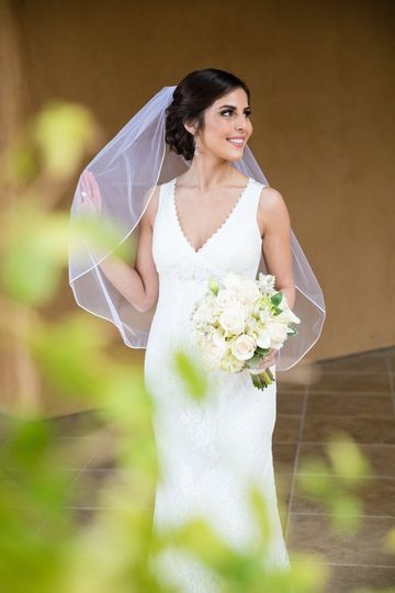 Classic veil and hairstyle