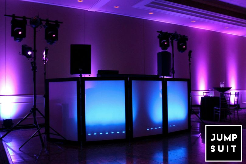 DJ booth and lighting.