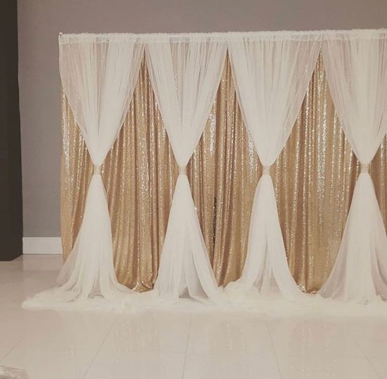 A luxurious draped backdrop
