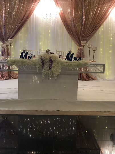A wedding head table