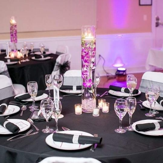 Purple orchid centerpieces
