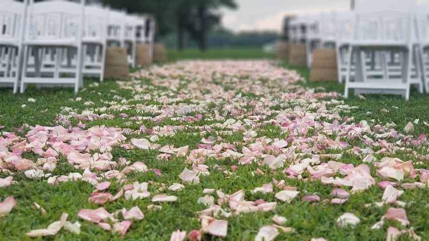 Romantic flower petals for the aisle