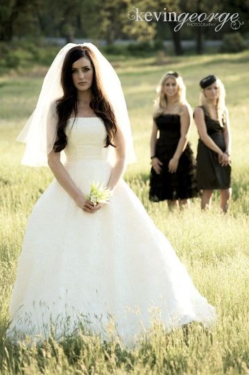 Bride, weeds, fields, black, bridesmaid, vintage