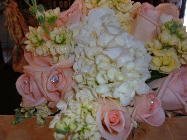 Hand tied bouquet of white hydrangea
