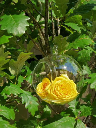 Flower globes at the altar