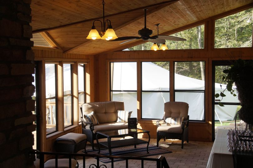 Sun porch with fireplace