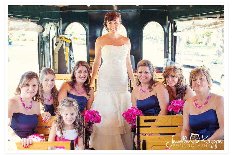 chicago trolley wedding bridesmaids photo orland p