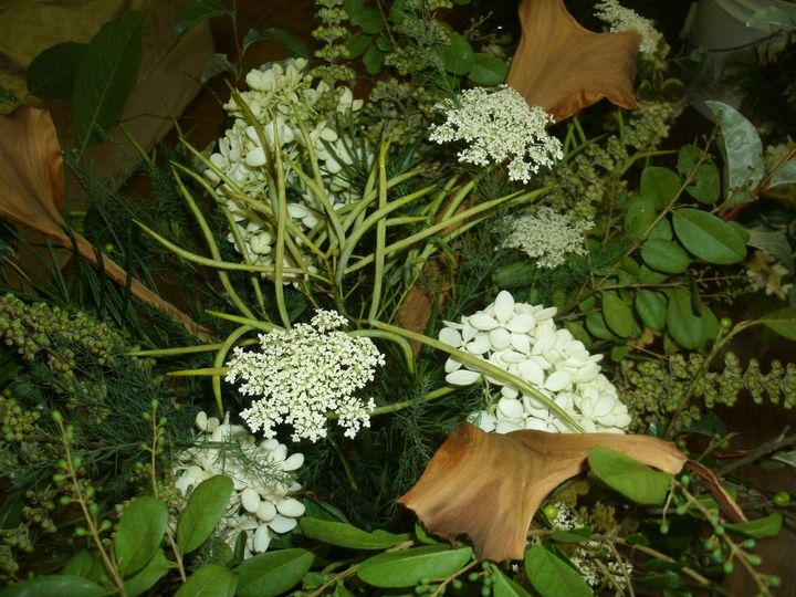 Close-up view of alterpiece for woodland wedding