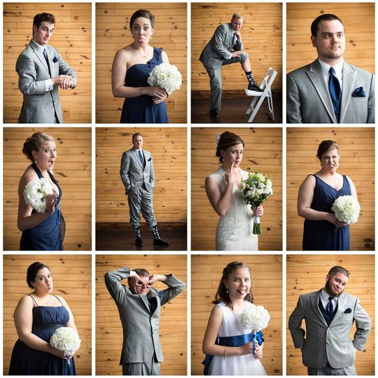 Fun collage of the wedding party! I love to get them acting silly and playful! Venue: The Crossing...