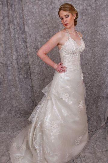 V neckline gown