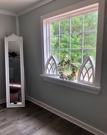 Window and full length mirror