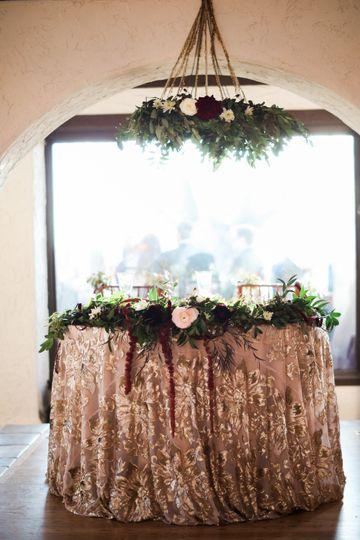 Sweetheart table in ballroom