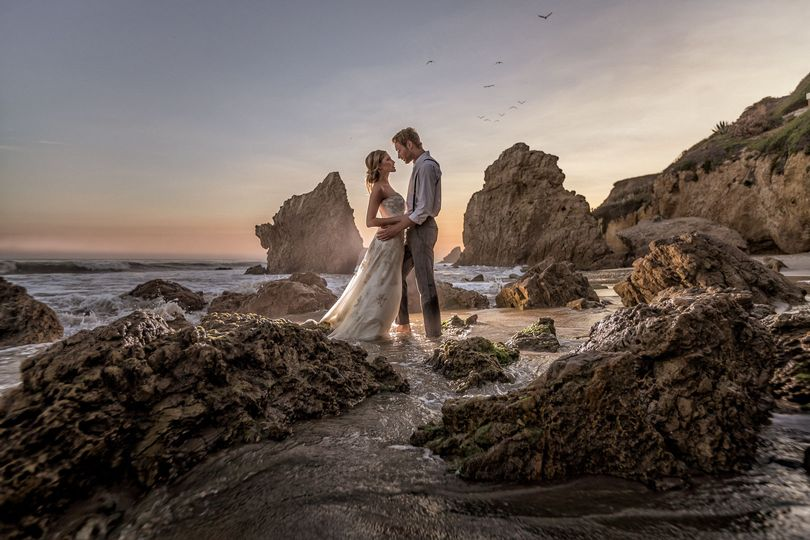 A bridal trash the dress shoot at El Matador Beach