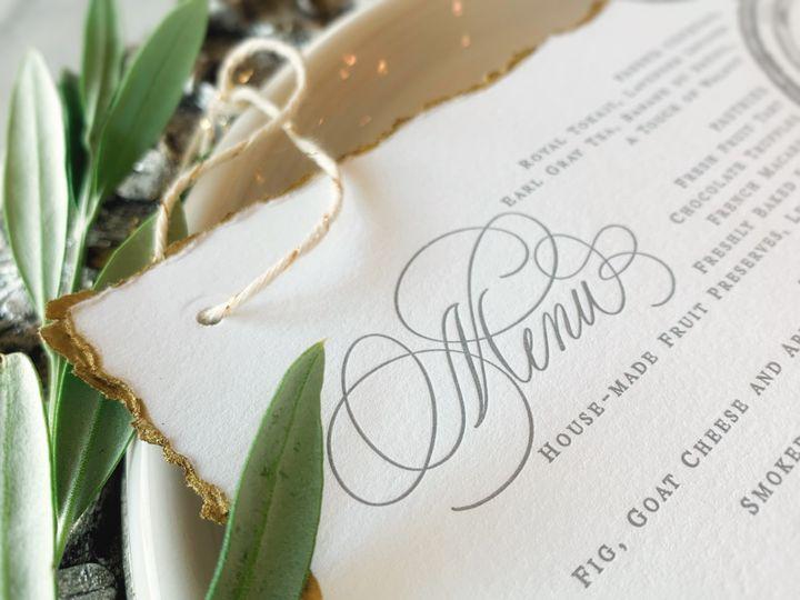 Calligraphy letterpress menu