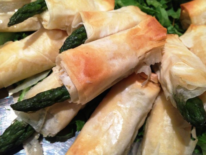 Asparagus wrapped in filo dough
