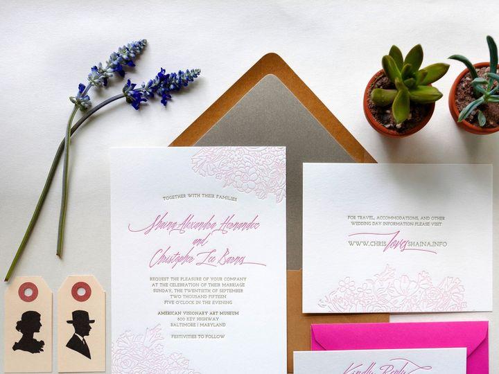 Tmx 1453775460445 Letterpress Wedding Invitations Kraft Pink Succule Princeton wedding invitation