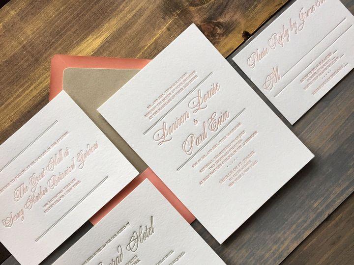 Tmx 1453775587072 Darling Pearl Letterpress Wedding Invitation Bluch Princeton wedding invitation