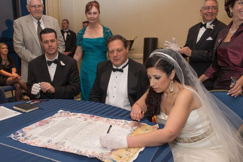 Bride signing of Ketubah