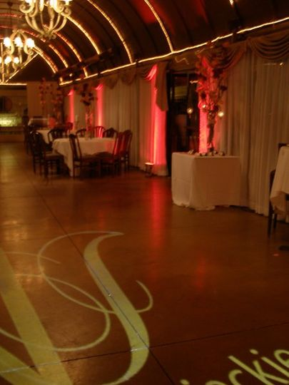 Jackie & Virgil's Wedding - photo of uplighting and monogram