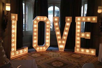 LOVE text lights