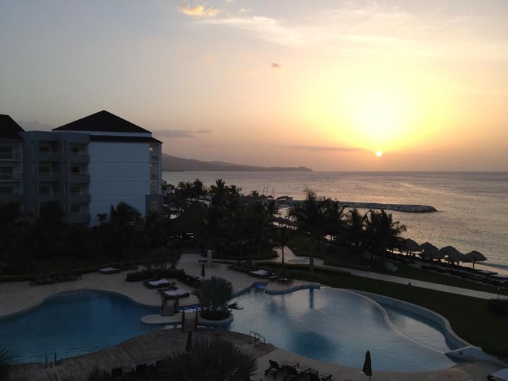 Resort pool and sunset view