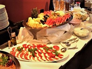 Caprese salad and fruit tray