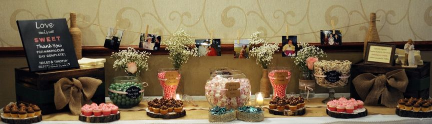 Bride loves everything green sweet table with mini cupcakes