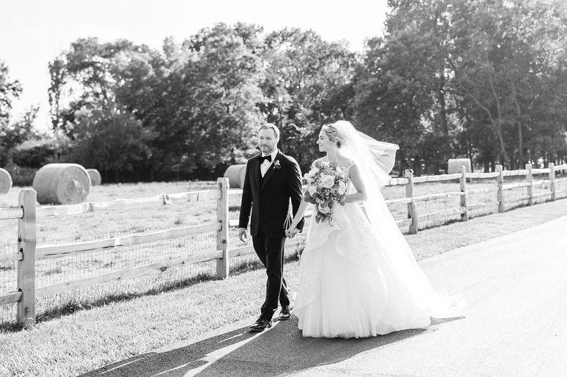 Bride & groom at farm