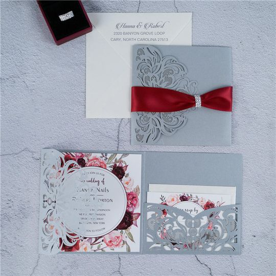 Classic Floral Tri-fold Laser Cut Wedding Invitation