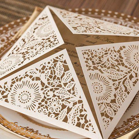 White Floral Laser Cut Wedding Invitation