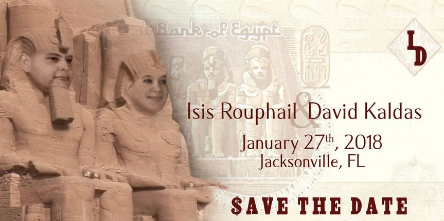 One Egyptian Pound Pharaonic Facial Overlay Wedding Save The Date Card